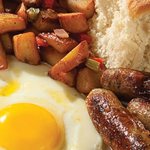 Eggs, bacon and sausage from our Classic 2-Egg Combos on the breakfast menu